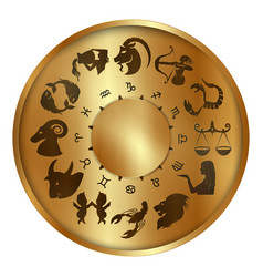 Zodiac signs on a gold disk vector