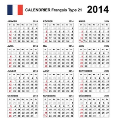 Calendar 2014 French Type 21 vector image vector image