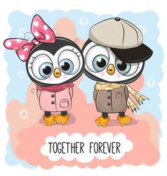 Cute cartoon penguins boy and girl vector