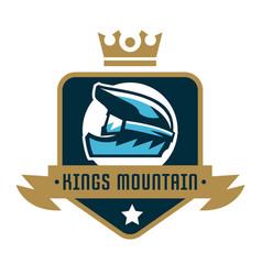 logo kings mountain crown a bicycle helmet vector image vector image