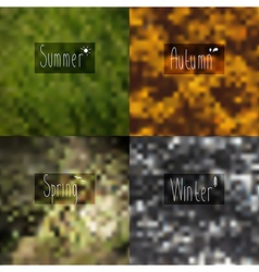pixel blurred wallpaper seasons with the words in vector image