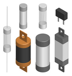 set of different fuses in 3d vector image vector image