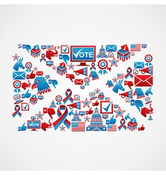 Us election icons mail shape vector