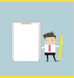 businessman holding clipboard with blank paper vector image