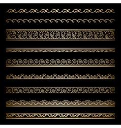 Gold border set vector