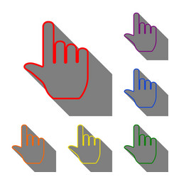 hand sign set of red orange yellow vector image