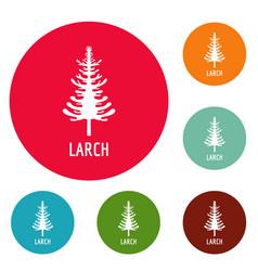Larch tree icons circle set vector