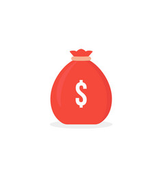 red simple money bag icon isolated on white vector image