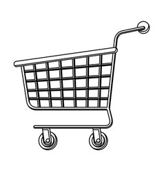 shopping cart icon in monochrome silhouette vector image vector image