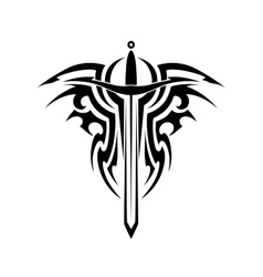 Tribal tattoo with medieval sword vector image vector image