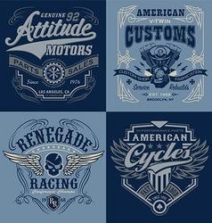 Vintage motorsport emblem graphic set vector image vector image