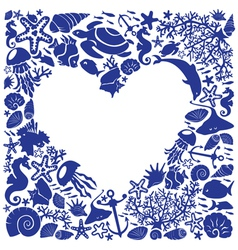 White background heart is surrounded of marine li vector image