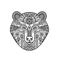 Zentangle bear head vector image