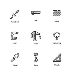 9 construction thin line icon vector image vector image