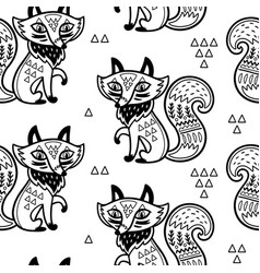 Cute pattern with fox and vector