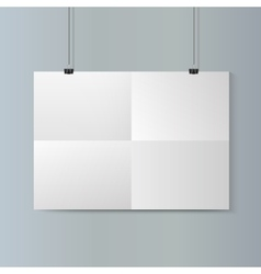 Empty horizontal white paper poster mockup on grey vector image vector image