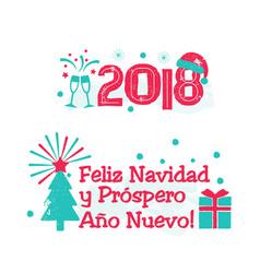 Feliz navidad - merry christmas spanish language vector