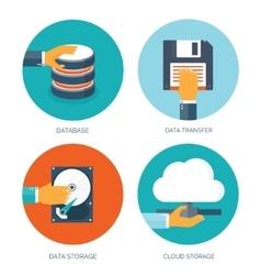 Flat data storage cloud vector