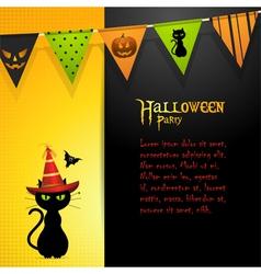 halloween black cat panel background vector image vector image