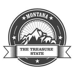 Montana Mountains - Treasure State stamp label vector image