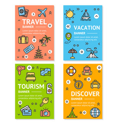 travel flyer banner placard set vector image vector image