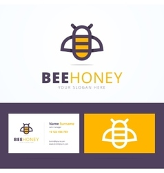 Bee honey logo and business card template vector image vector image