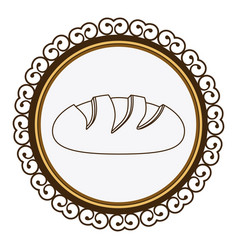 decorative frame with silhouette homemade bread vector image