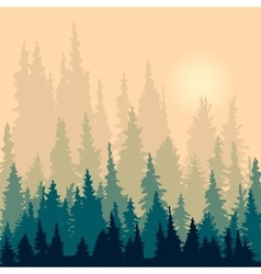 landscape with silhouettes of fir-trees vector image vector image