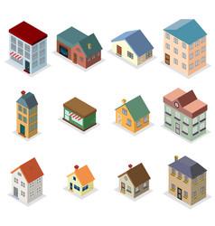 modern trendy retro house street isometric design vector image