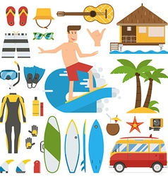 Surfing Time Elements Set vector image vector image