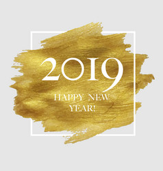 2019 new year poster with golden blot vector