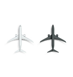 3d abstract white and black airplane isolated vector image