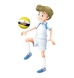 A player using the soccer ball with the flag of vector
