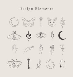 Abstract line drawing logo design elements vector