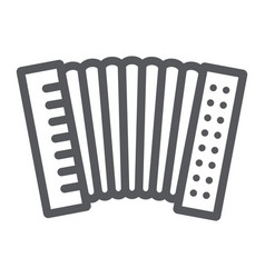 Accordion line icon music and keyboard national vector