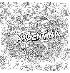 argentina hand drawn cartoon doodles vector image
