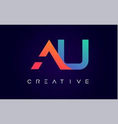 Au logo letter design with modern creative vector