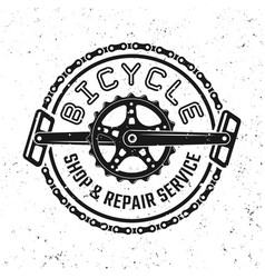 bicycle pedals and chain round retro emblem vector image