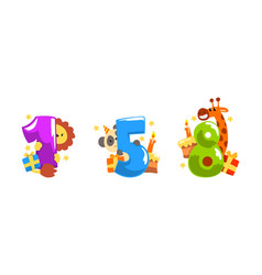 Birthday anniversary numbers with cute animals set vector
