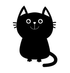 Black cat icon cute funny cartoon smiling vector