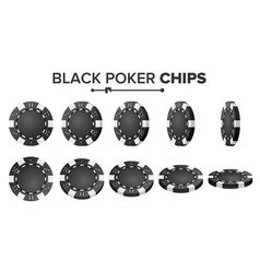 black poker chips realistic set plastic vector image