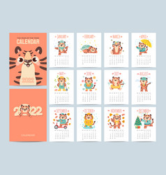 calendar 2022 with cute tigers covers and 12 vector image
