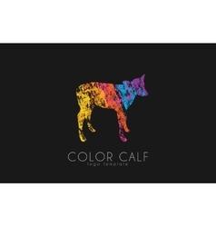 Calf logo color animal logo cow kid vector