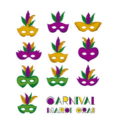 Carnival mardi gras set of colorful mask with vector