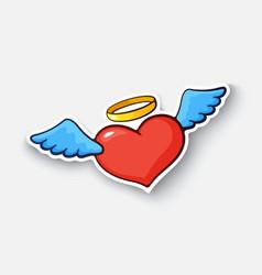 cartoon sticker with angel heart vector image