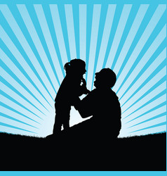 child silhouette with dad happy in nature vector image