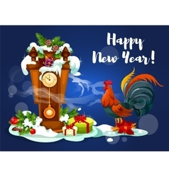 Chinese New Year rooster with clock vector image