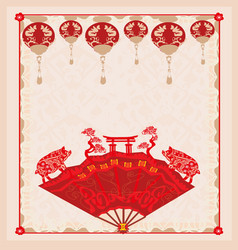 Chinese zodiac year pig vector