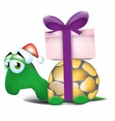 christmas turtle vector image