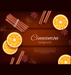 Cinnamon background advertizing pictures herbs vector